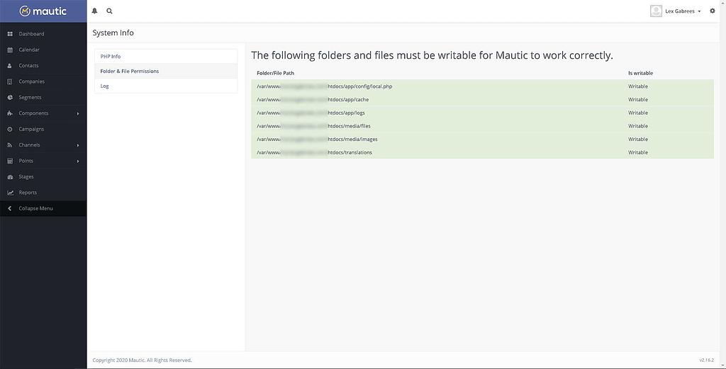 Mautic Folder Permissions